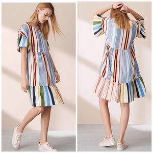 Lou & Grey Fiesta Striped Embroidered Dress M